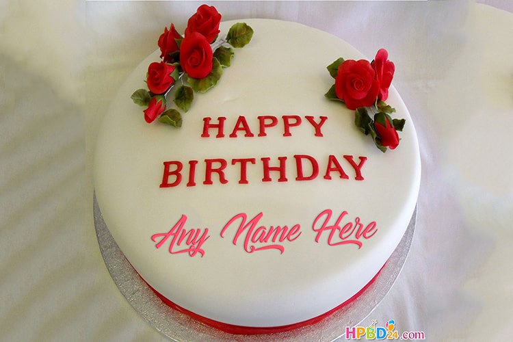 Special Rose Happy Birthday Cake With Name