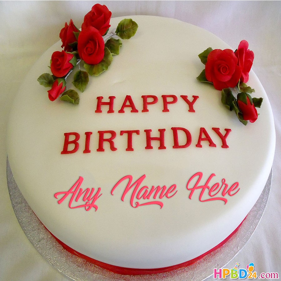 Swell Special Rose Happy Birthday Cake With Name Funny Birthday Cards Online Alyptdamsfinfo