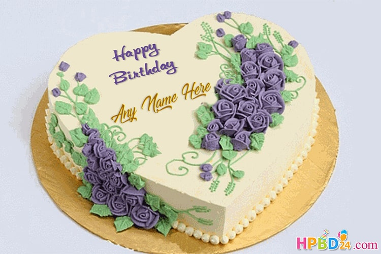 Lovely Heart Birthday Cake With Name Edit