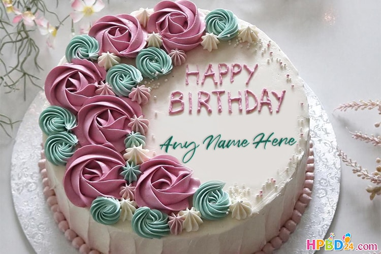 Flower Buttercream Roses Cake With Name Online