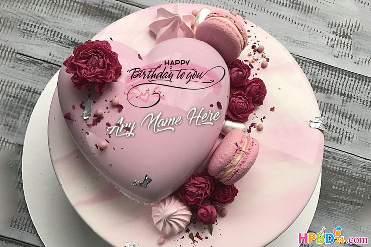 Admirable Pink Heart Birthday Cake For Lover With Name Personalised Birthday Cards Veneteletsinfo