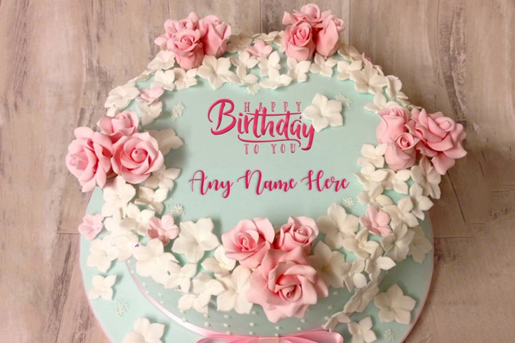 Surprising Easy Birthday Flower Rose Cake With Name Online Birthday Cards Printable Benkemecafe Filternl