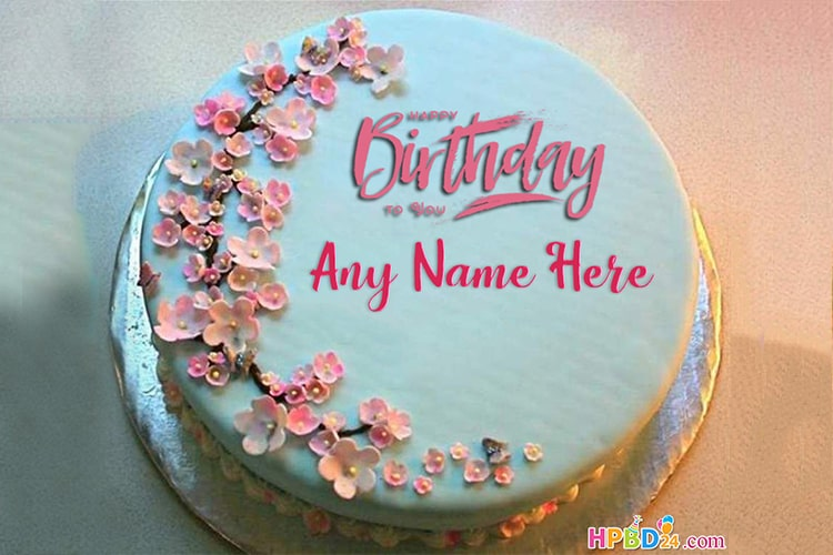 Simple  Flowers Birthday Cake With Name For Women