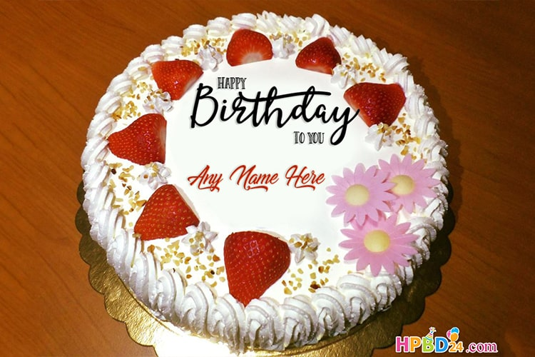 Yummy Strawberry Birthday Cakes With Name