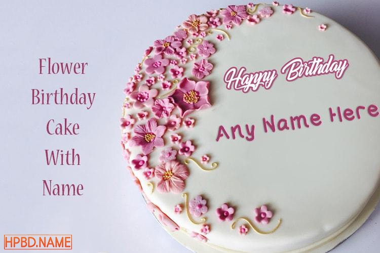 Pink Flower Birthday Cakes With Name Generator