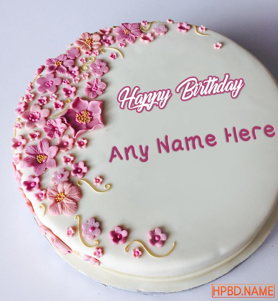 Super Pink Flower Birthday Cakes With Name Generator Funny Birthday Cards Online Hetedamsfinfo