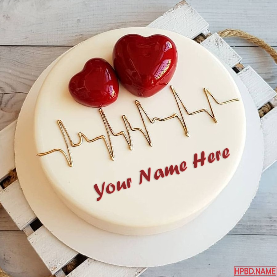 Pleasing Name On 3D Heart Birthday Cakes Online Maker Funny Birthday Cards Online Alyptdamsfinfo