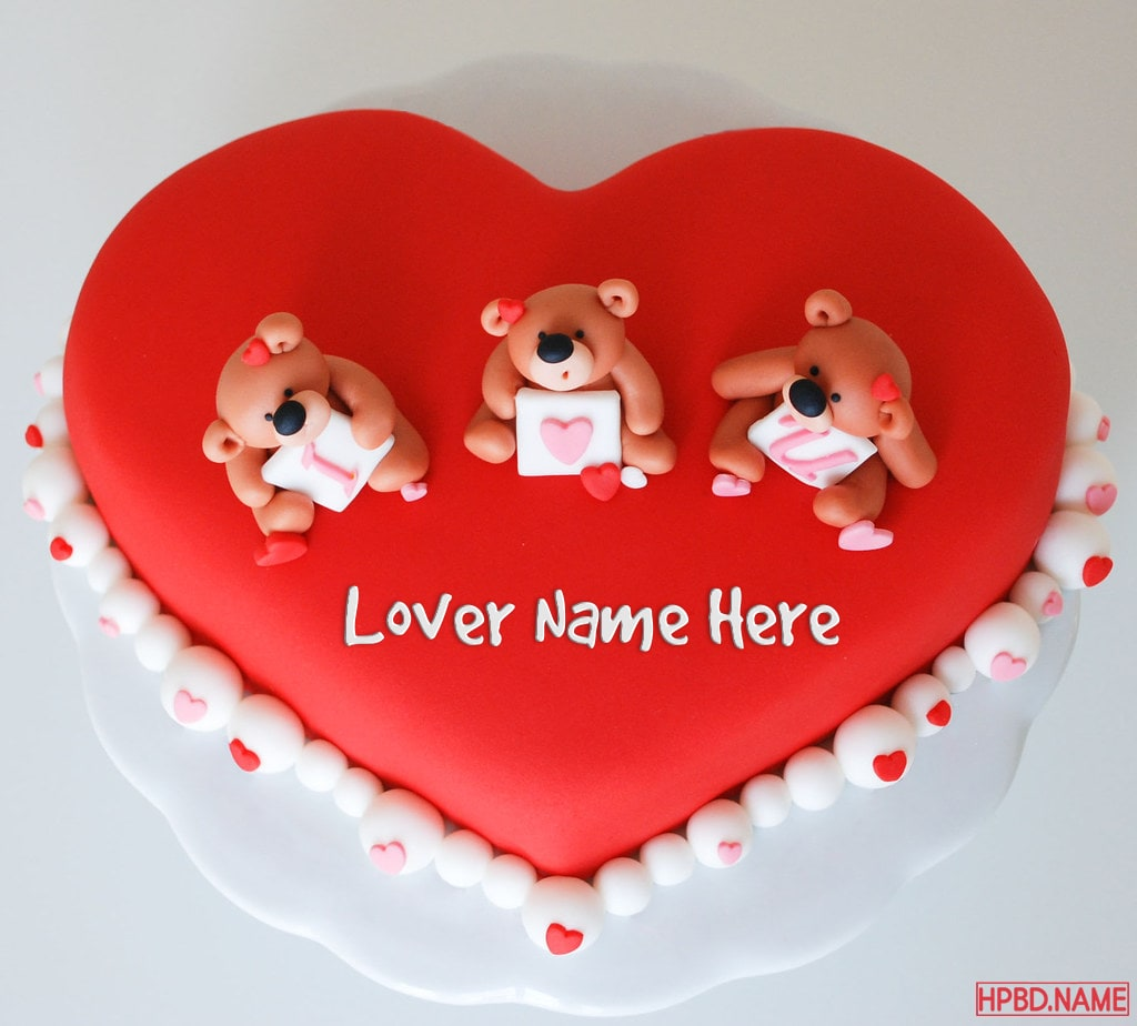 Prime Lovely Red Heart I Love You Birthday Cake With Name Funny Birthday Cards Online Fluifree Goldxyz