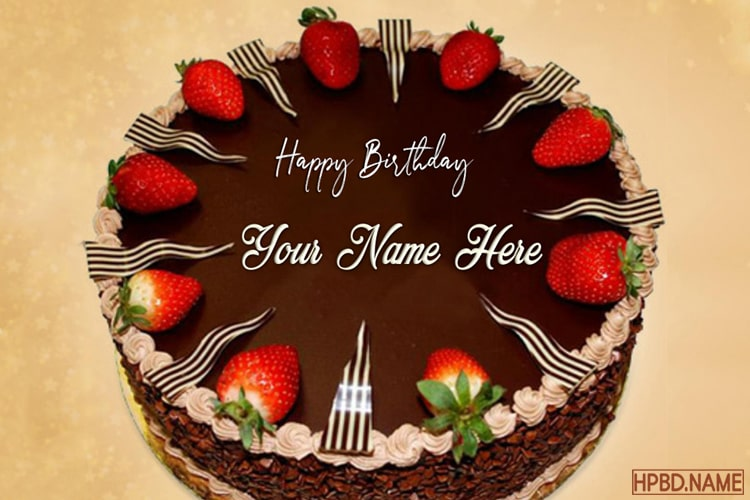 Incredible Strawberry Chocolate Birthday Name Cakes Online Funny Birthday Cards Online Overcheapnameinfo