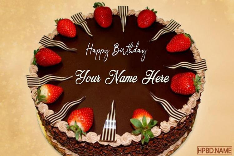 Enjoyable Strawberry Chocolate Birthday Name Cakes Online Personalised Birthday Cards Veneteletsinfo