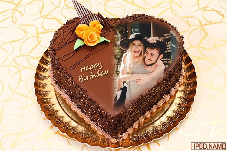 Marvelous Chocolate Heart Cake For Lover With Photo Frame Personalised Birthday Cards Veneteletsinfo