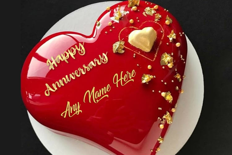 Red Heart Anniversary Cake With Name Edit