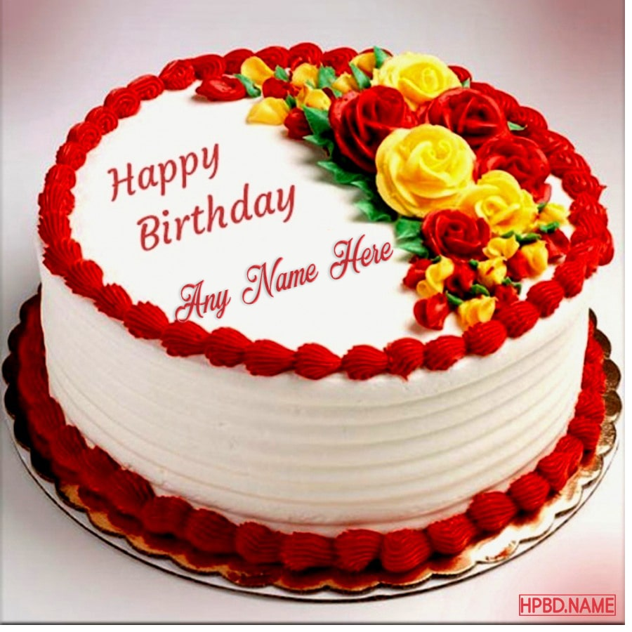 Cool Buttercream Roses Birthday Cake With Name Generator Funny Birthday Cards Online Alyptdamsfinfo