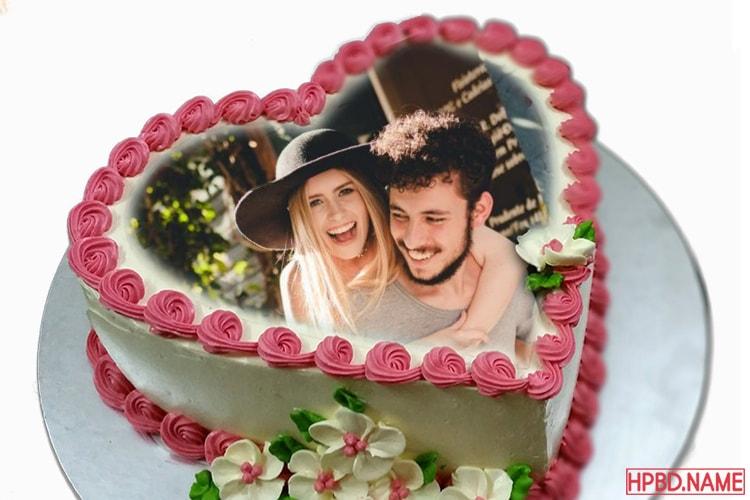 Lovely Flower Happy Birthday Cake Photo Frame Edit