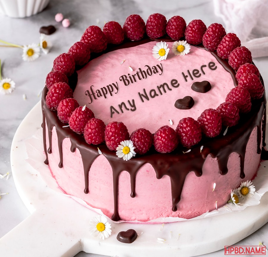 Fine Raspberry Birthday Cake With Name Edit Funny Birthday Cards Online Aeocydamsfinfo