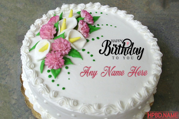Buttercream Flowers Birthday Cake By Name Edit