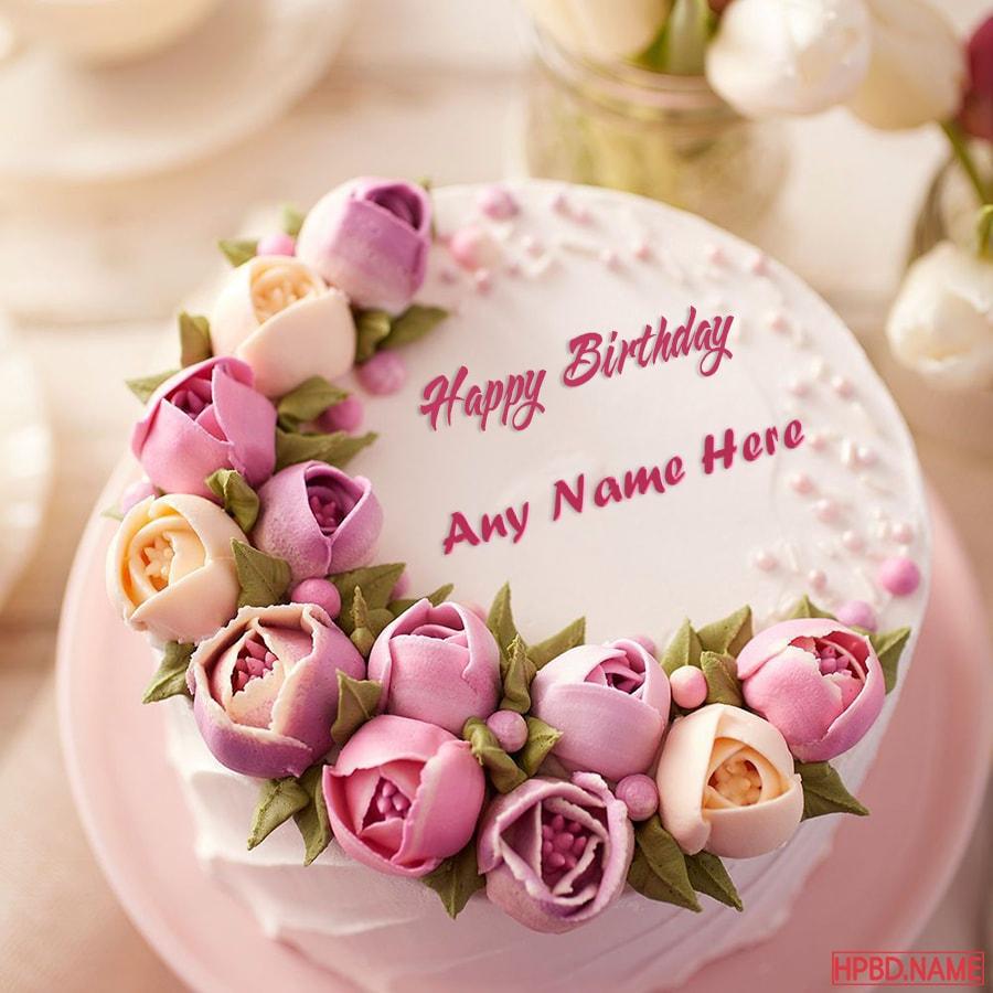 Outstanding The Best Flowers Birthday Cake With Name Generator Funny Birthday Cards Online Elaedamsfinfo