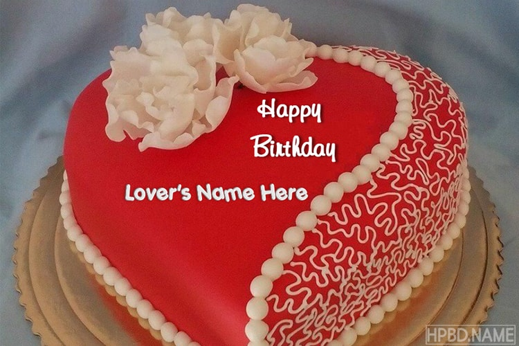 Write Name On Heart Love Birthday Cake Pic