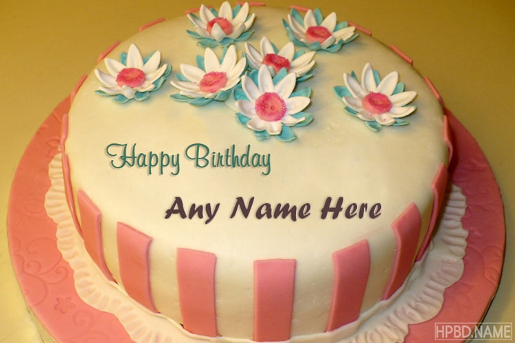Buttercream Flowers Birthday Cake By Name Edit