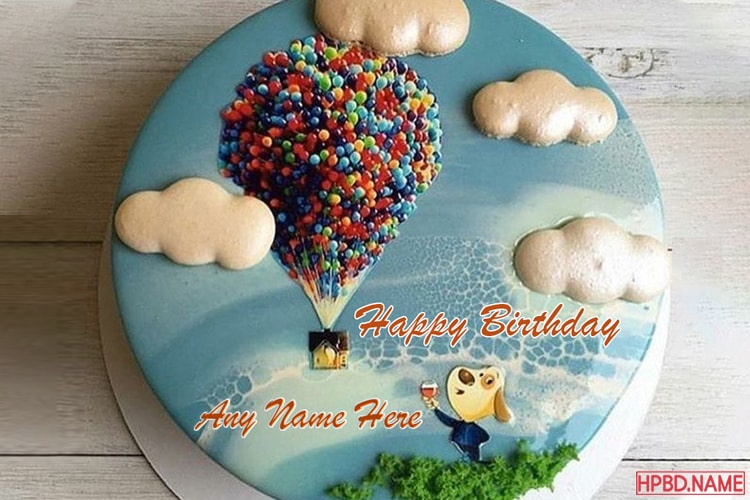 Happy Balloon Birthday Cake For Kid With Name Edit