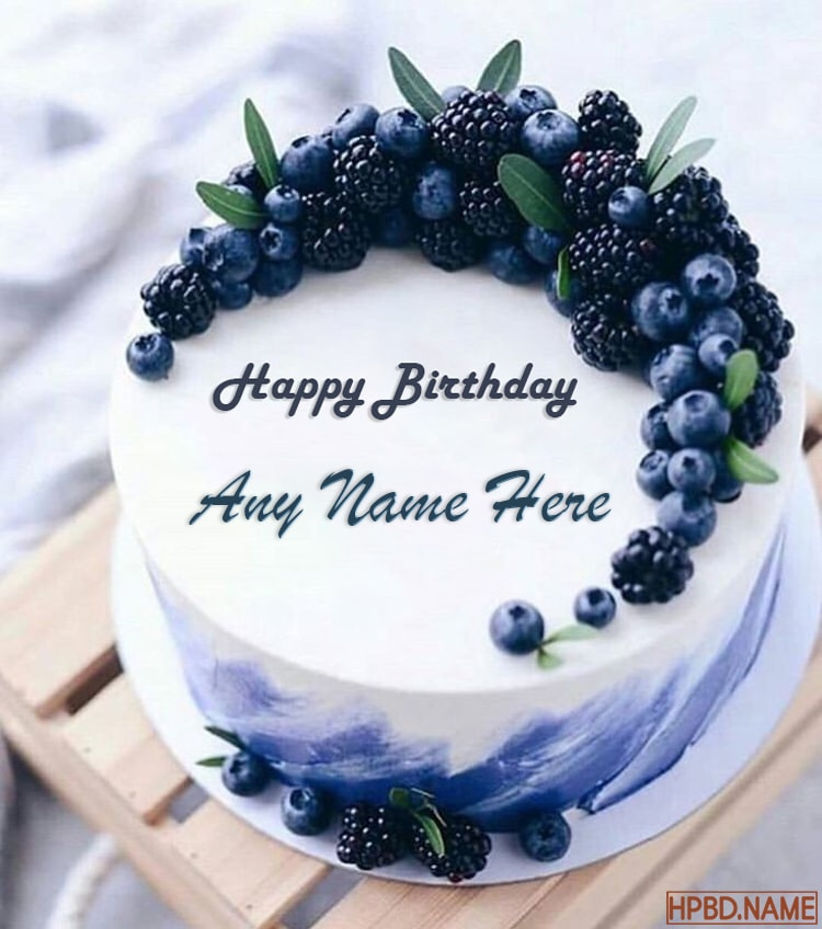 Happy Blueberry Birthday Cakes With Name Editor