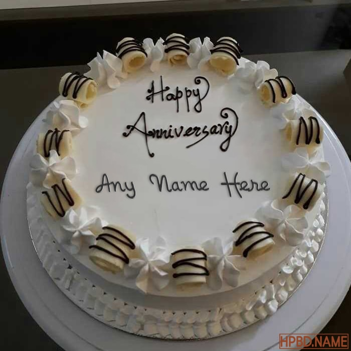 Write Your Name On Happy Anniversary Cake Online