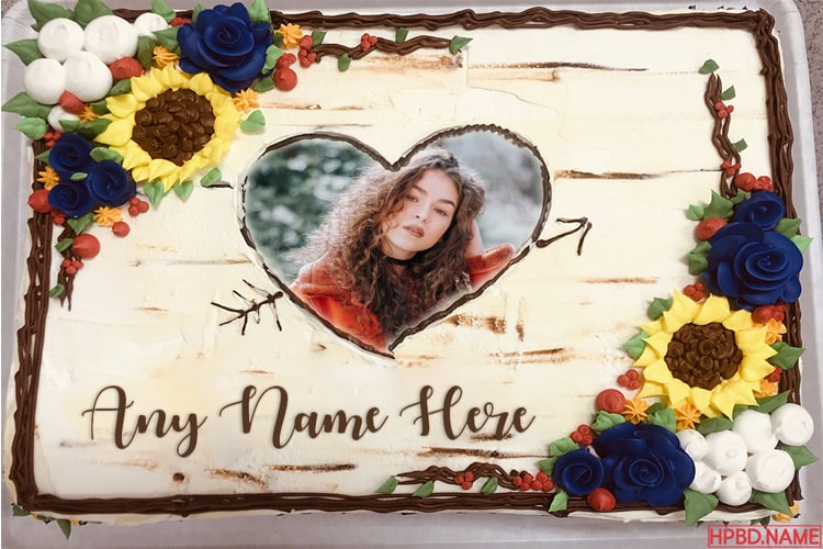 Latest Sunflower Birthday Cakes With Name And Photo Frame