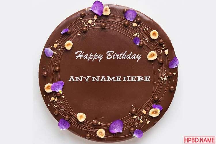 Chocolate Happy Birthday Cake By Name Editing