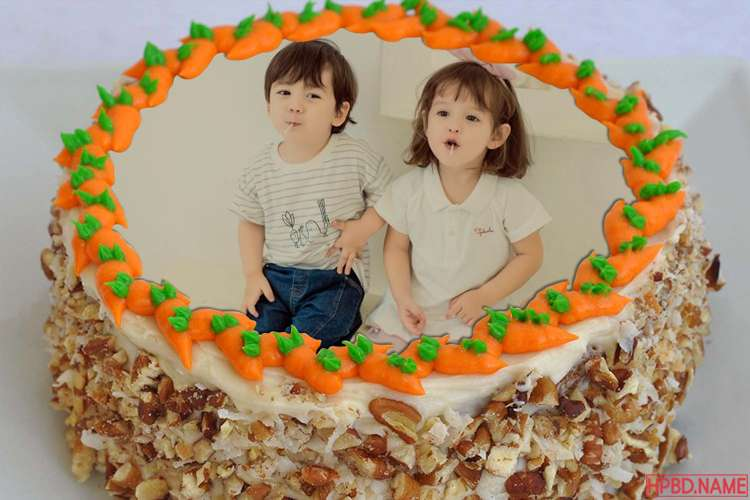 Lovely Carrot Birthday Cake With Photo Frame Edit