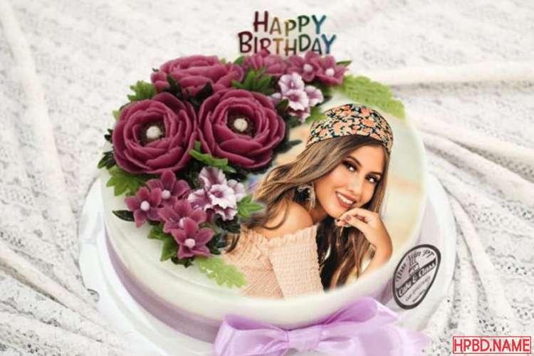 Yummy Flower Birthday Cake With Photo