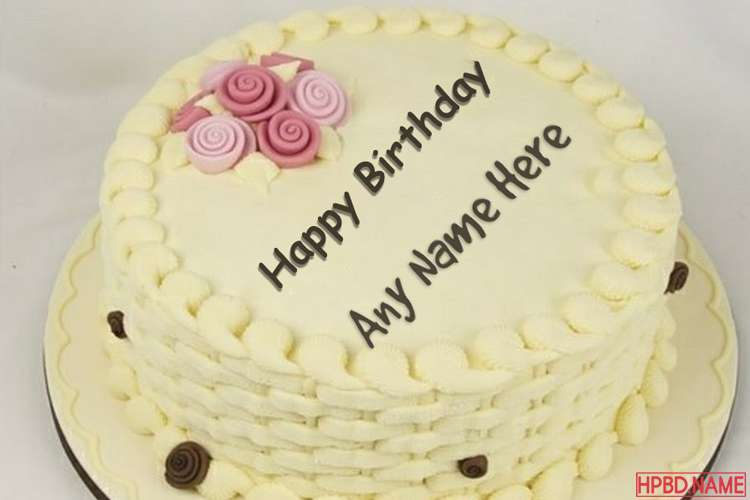 Simple Yellow Birthday Cake With Name Edit
