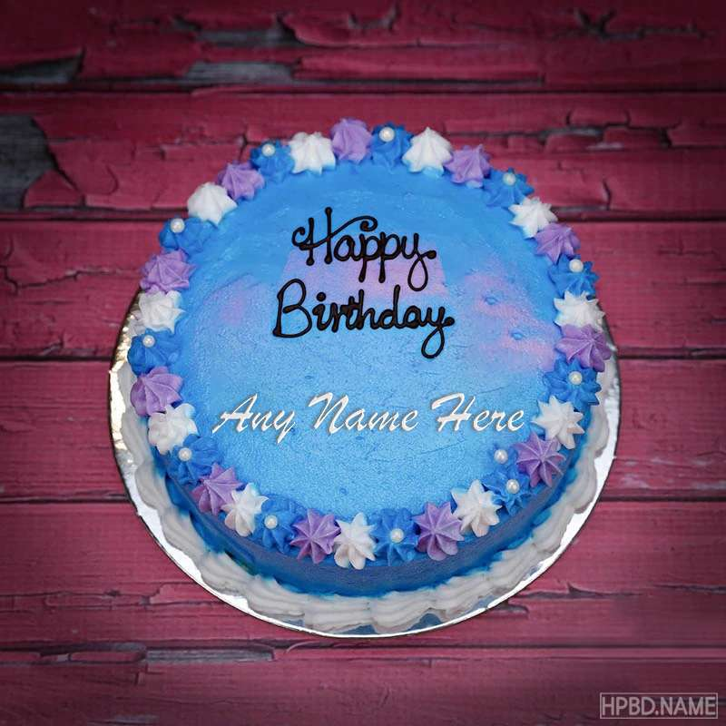 Sensational Blue Flower Happy Birthday Cake With Name Funny Birthday Cards Online Alyptdamsfinfo