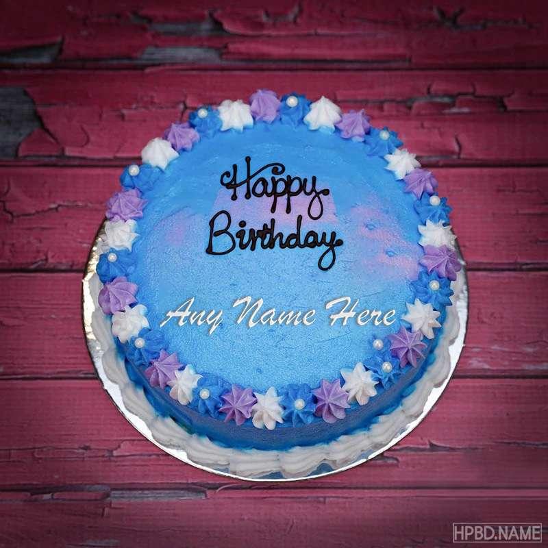 Fantastic Blue Flower Happy Birthday Cake With Name Funny Birthday Cards Online Inifodamsfinfo