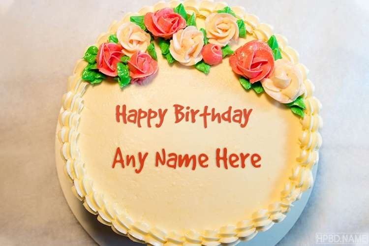 Awesome Rose Flowers Birthday Cakes With Name Editor