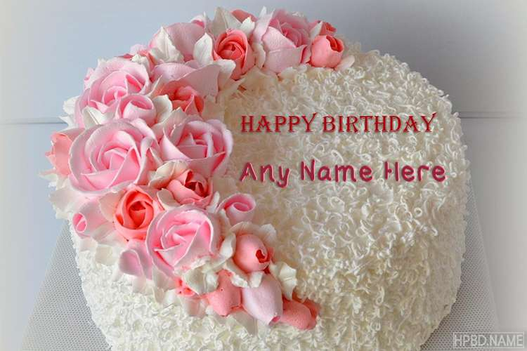 Happy Birthday Pink Flowers Cake With Your Name