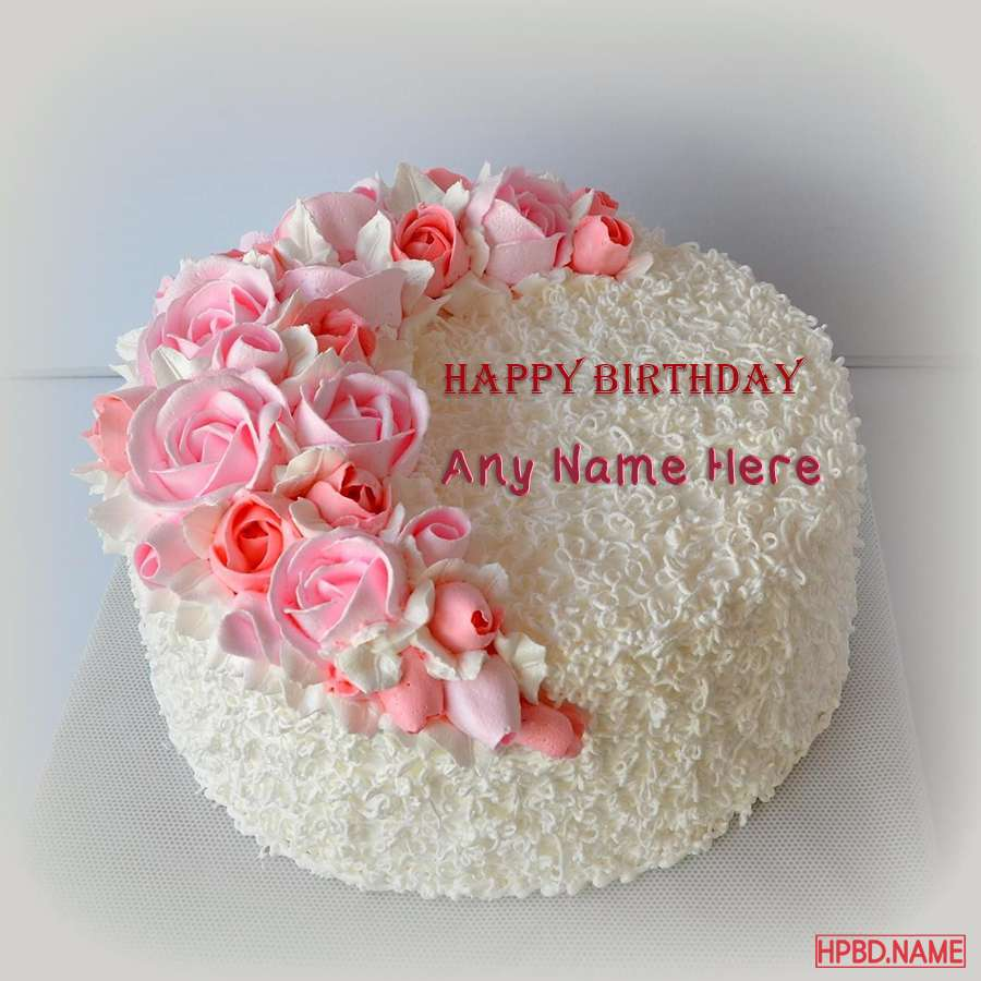 Miraculous Happy Birthday Pink Flowers Cake With Your Name Funny Birthday Cards Online Barepcheapnameinfo