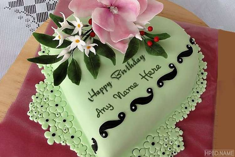 Green Birthday Cake With Name Generator