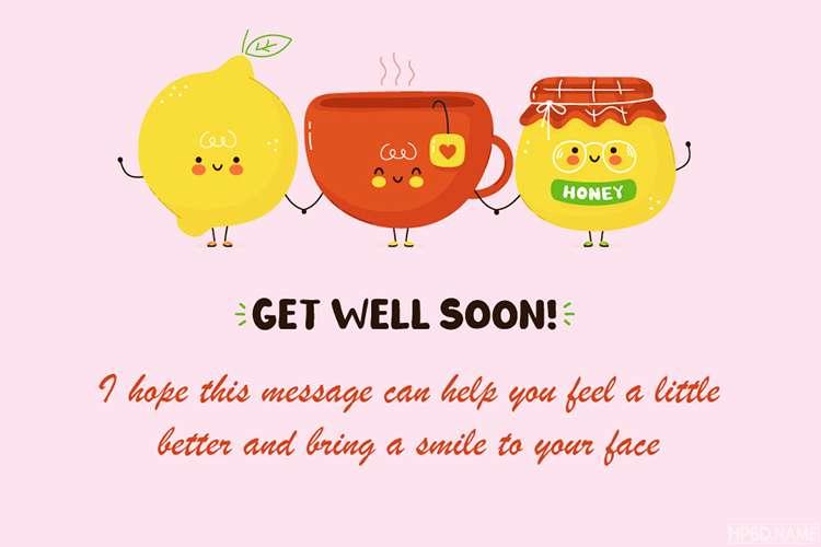 Cute Happy Tea Cup Get Well Soon Card
