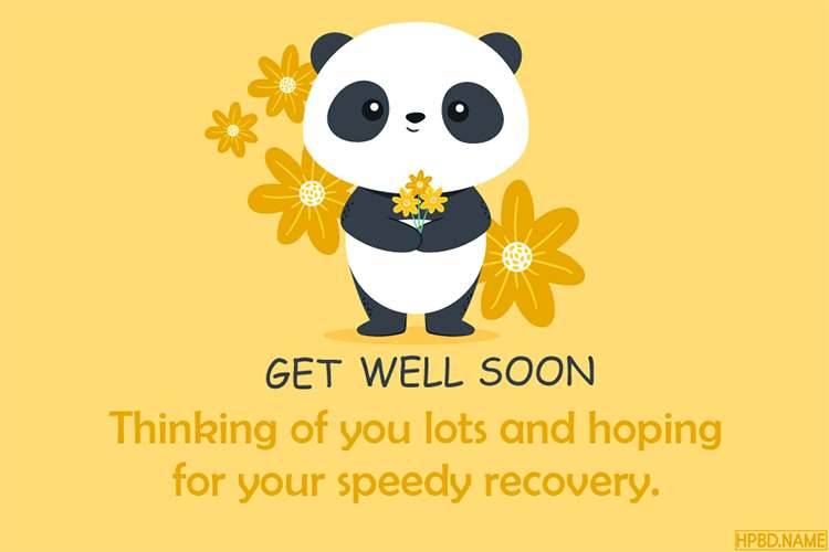 Funny Get Well Soon Card With Lovely Panda