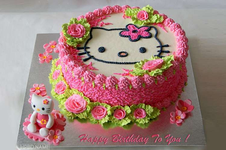 Happy Hello Kitty Cake With Name Edit