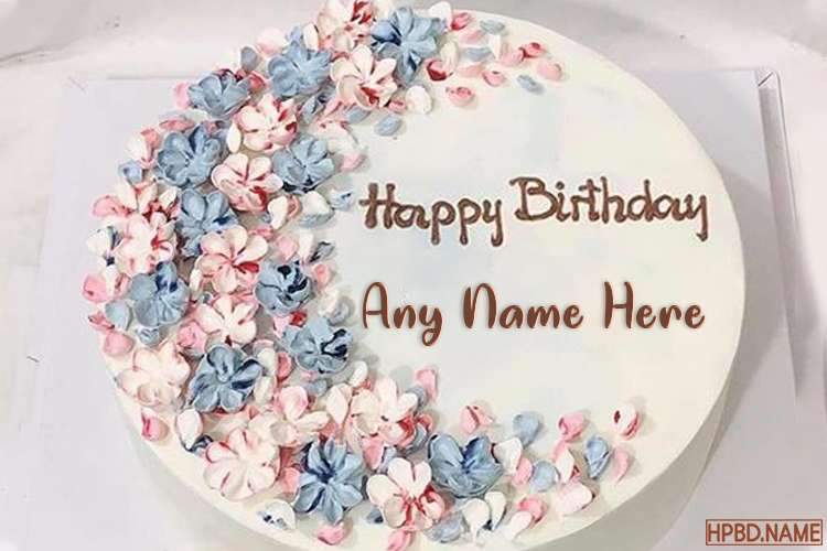 Lovely Flower Birthday Cake By Name Editing
