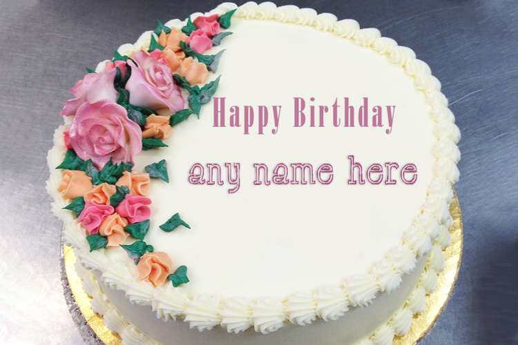 Happy Flower Birthday Cake With Name Edit