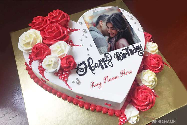 Print Photo on Heart Birthday Cake With Name Edit