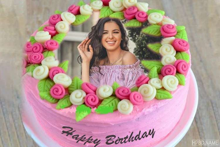 Surprising Latest Flowers Birthday Cake With Photo Frames Funny Birthday Cards Online Aeocydamsfinfo