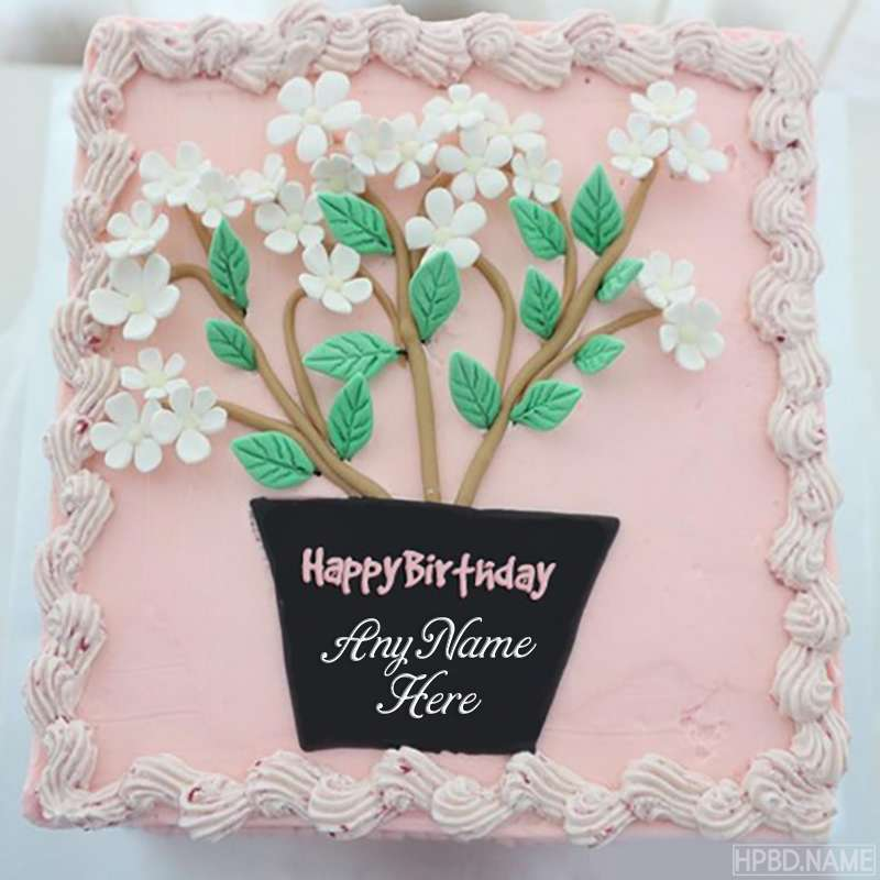 awesome happy birthday flowers cake with name edit
