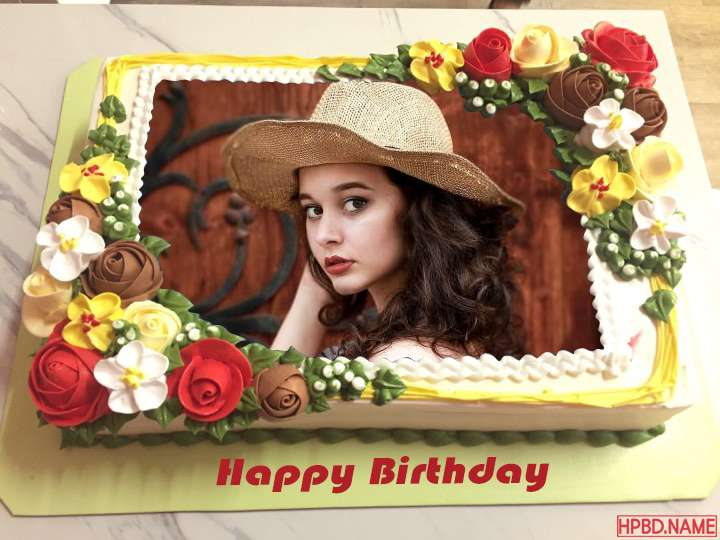 Beautiful Birthday Cake With Photo Edit