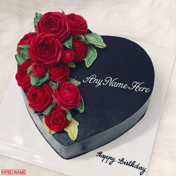 Red Rose Heart Birthday Cake With Name Edit