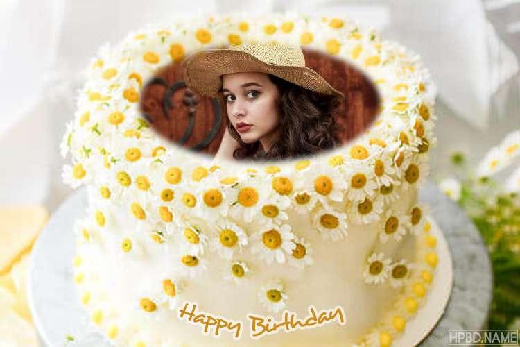 Chrysanthemum Birthday Cake Design With Photo Editing