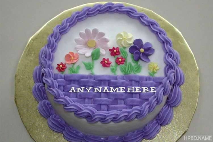 Write Your Name On Purple Flower Garden Birthday Cake