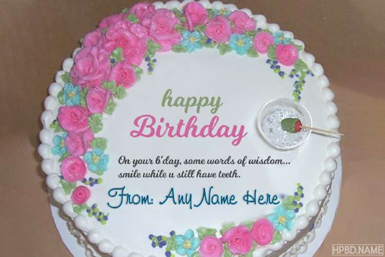 Lovely Flower Birthday Wishes Cake With Name Edit